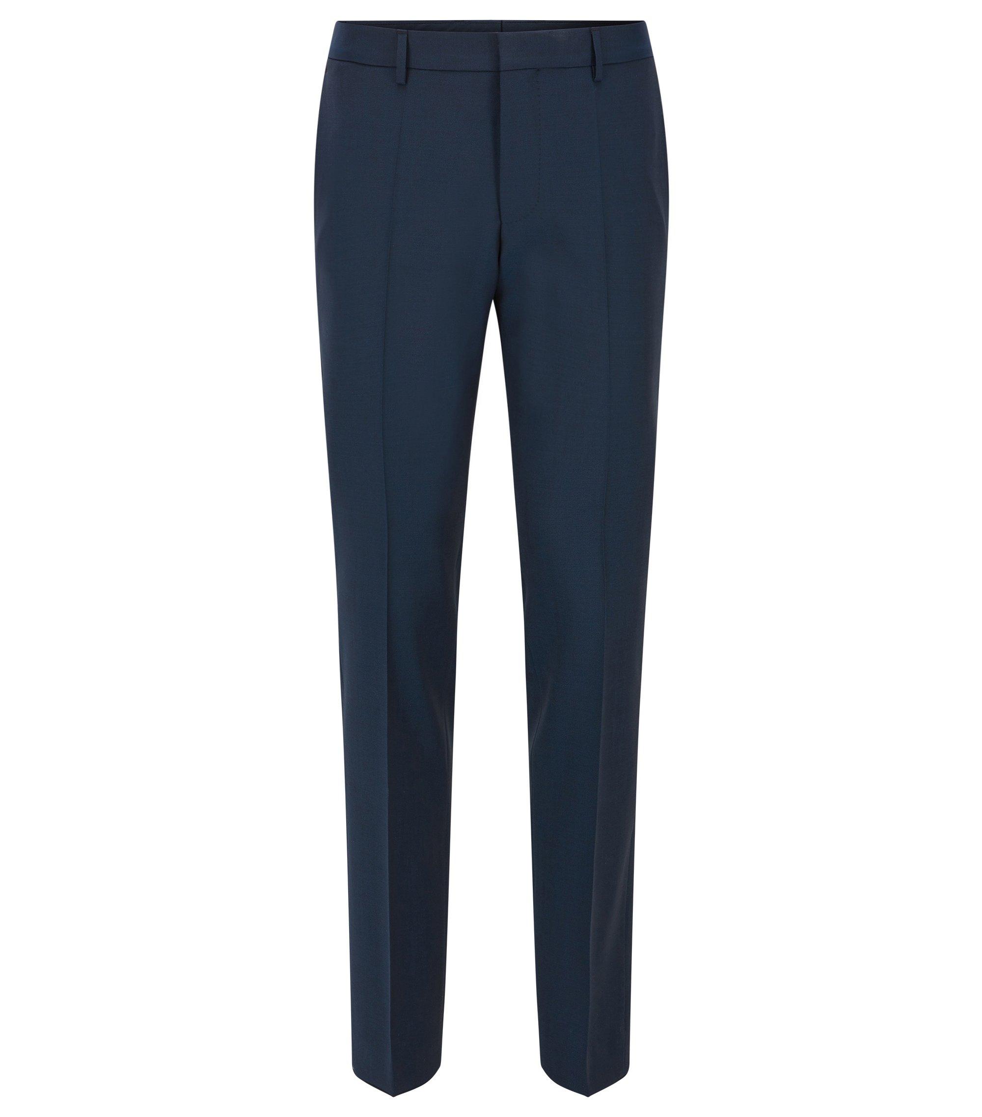 Pantaloni slim fit in lana vergine con dettaglio a contrasto, Blu scuro