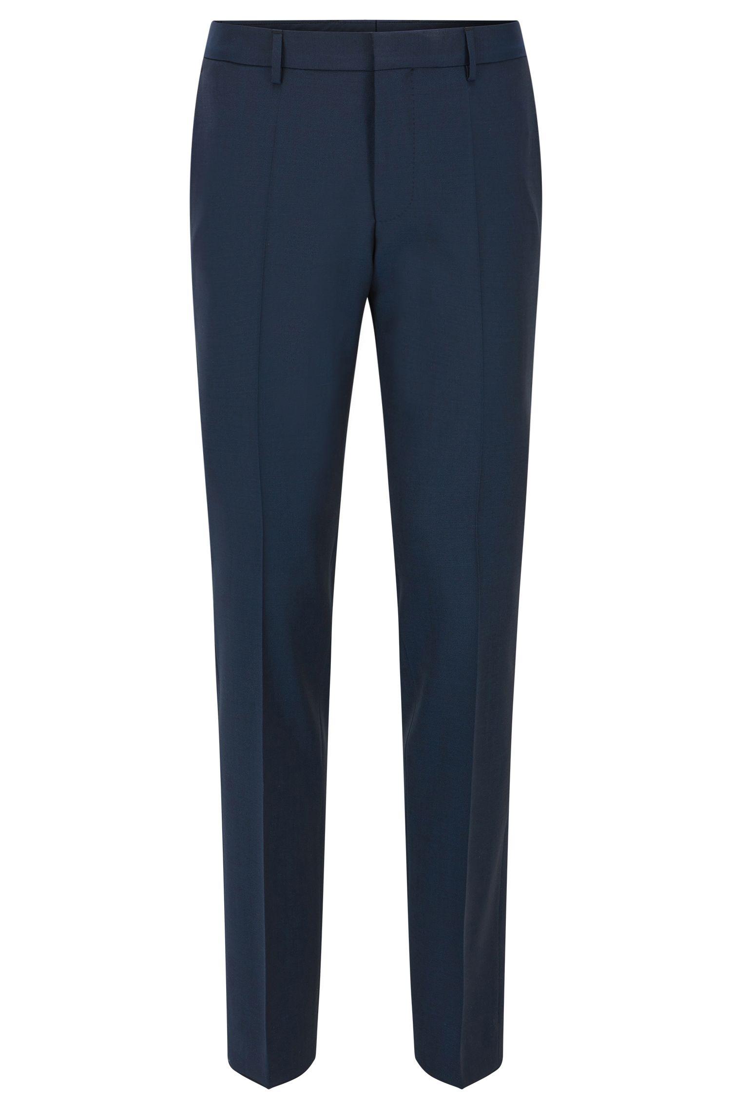 Pantalón slim fit de lana virgen con ribete en contraste