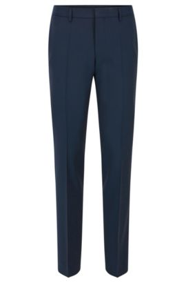 Pantalon Slim Fit en laine vierge aux finitions contrastées, Bleu foncé