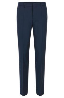Slim-fit virgin wool trousers with contrast trim, Dark Blue