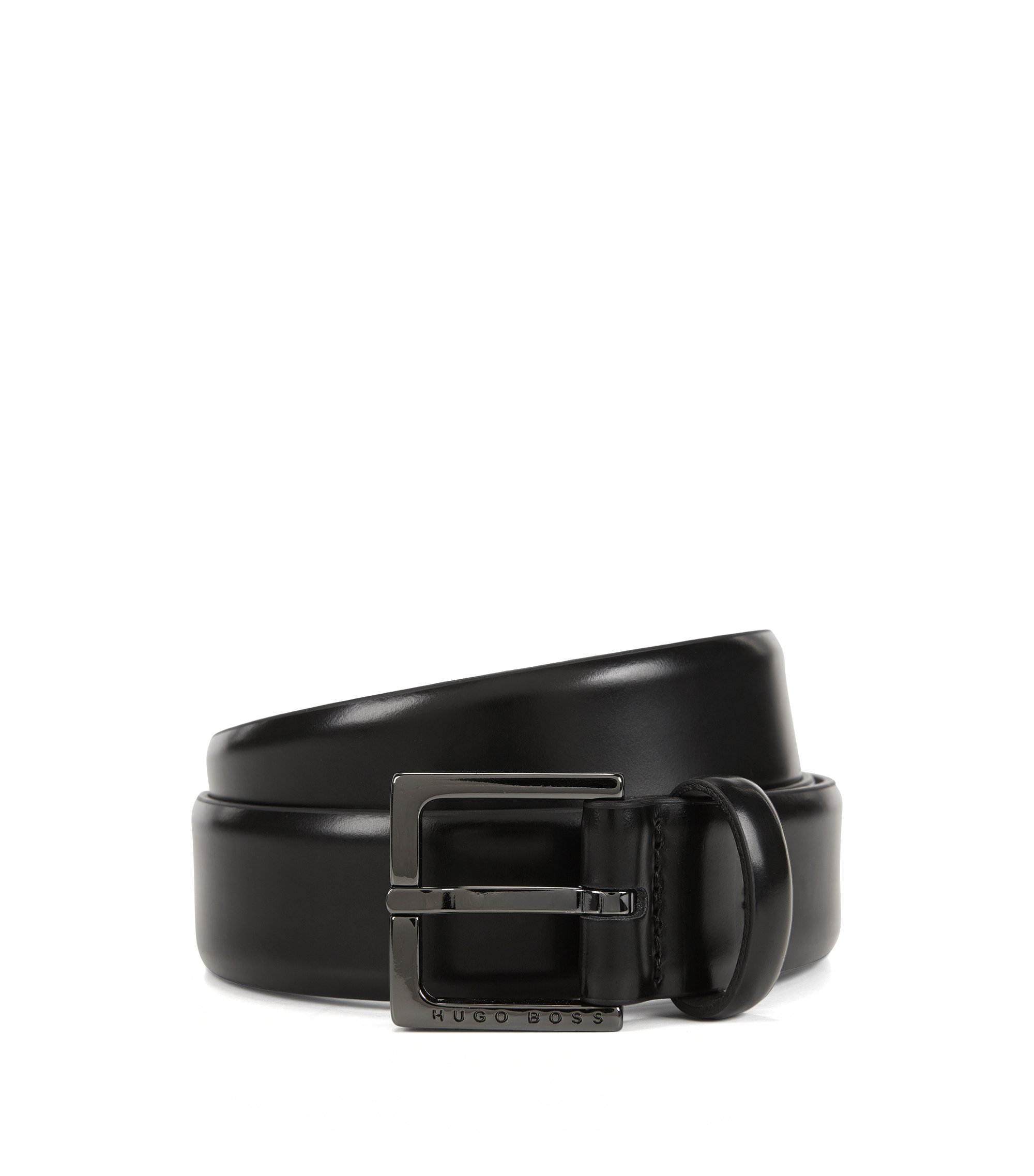 Chino-Gürtel aus glänzend poliertem Leder, Schwarz