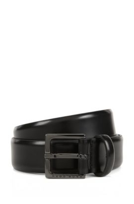 Chino belt in brush-off leather, Black