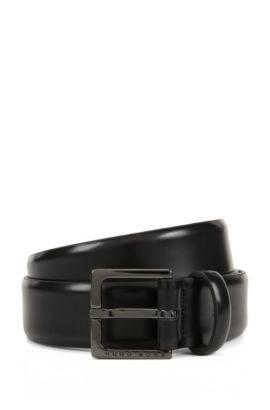 Cintura per chino in pelle spazzolata, Nero