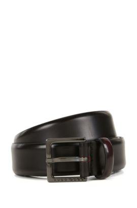 Chino belt in brush-off leather, Dark Red