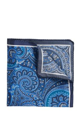 Paisley pocket square in rich silk, Turquoise