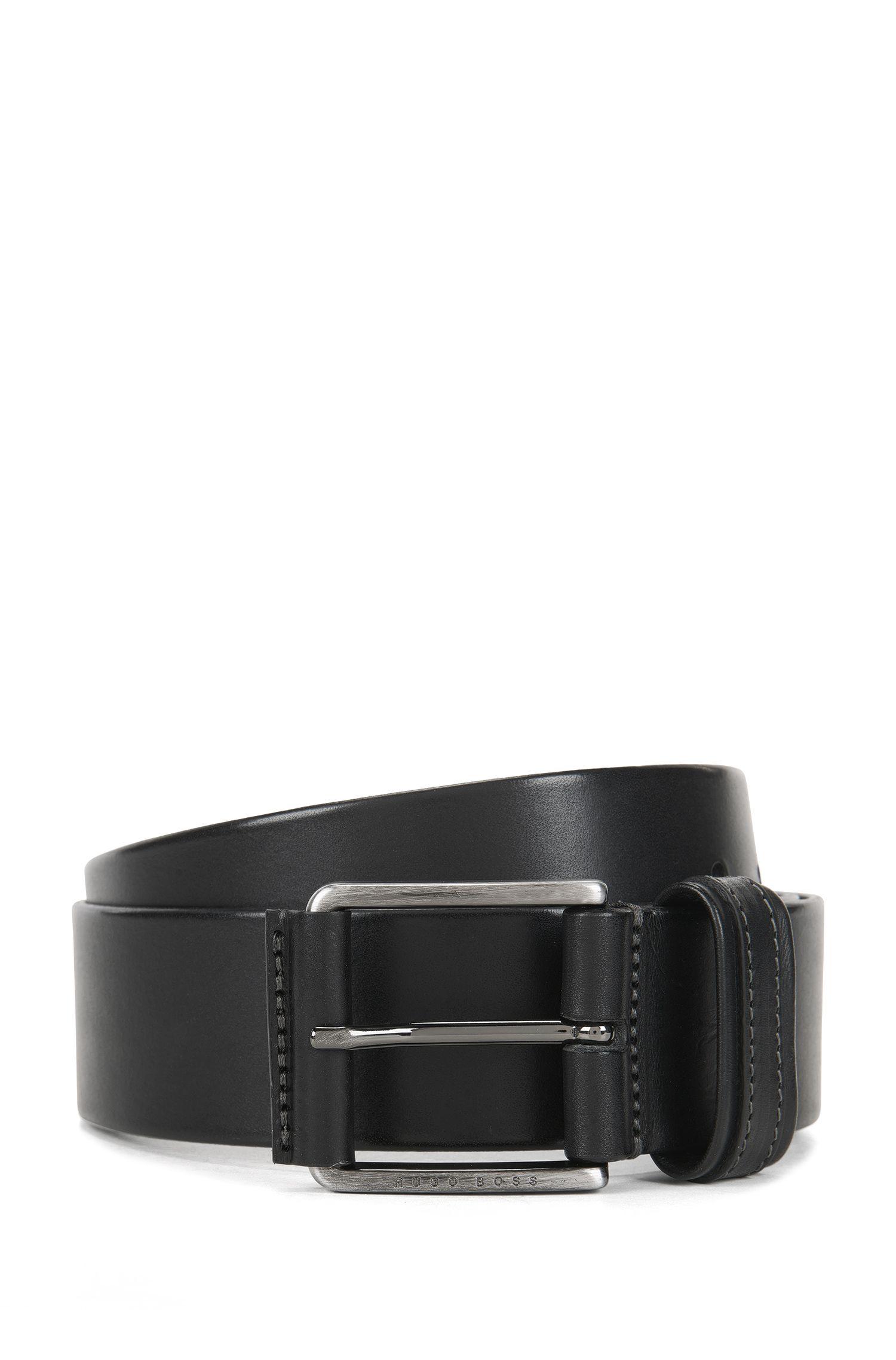 Cintura in pelle con finitura bicolore, Nero