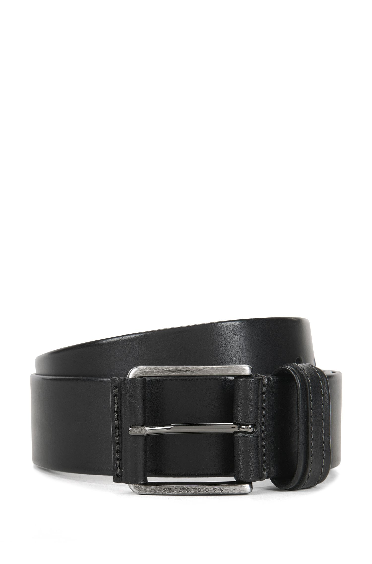Leather belt with two-tone finish