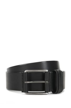 Leather belt with two-tone finish, Black