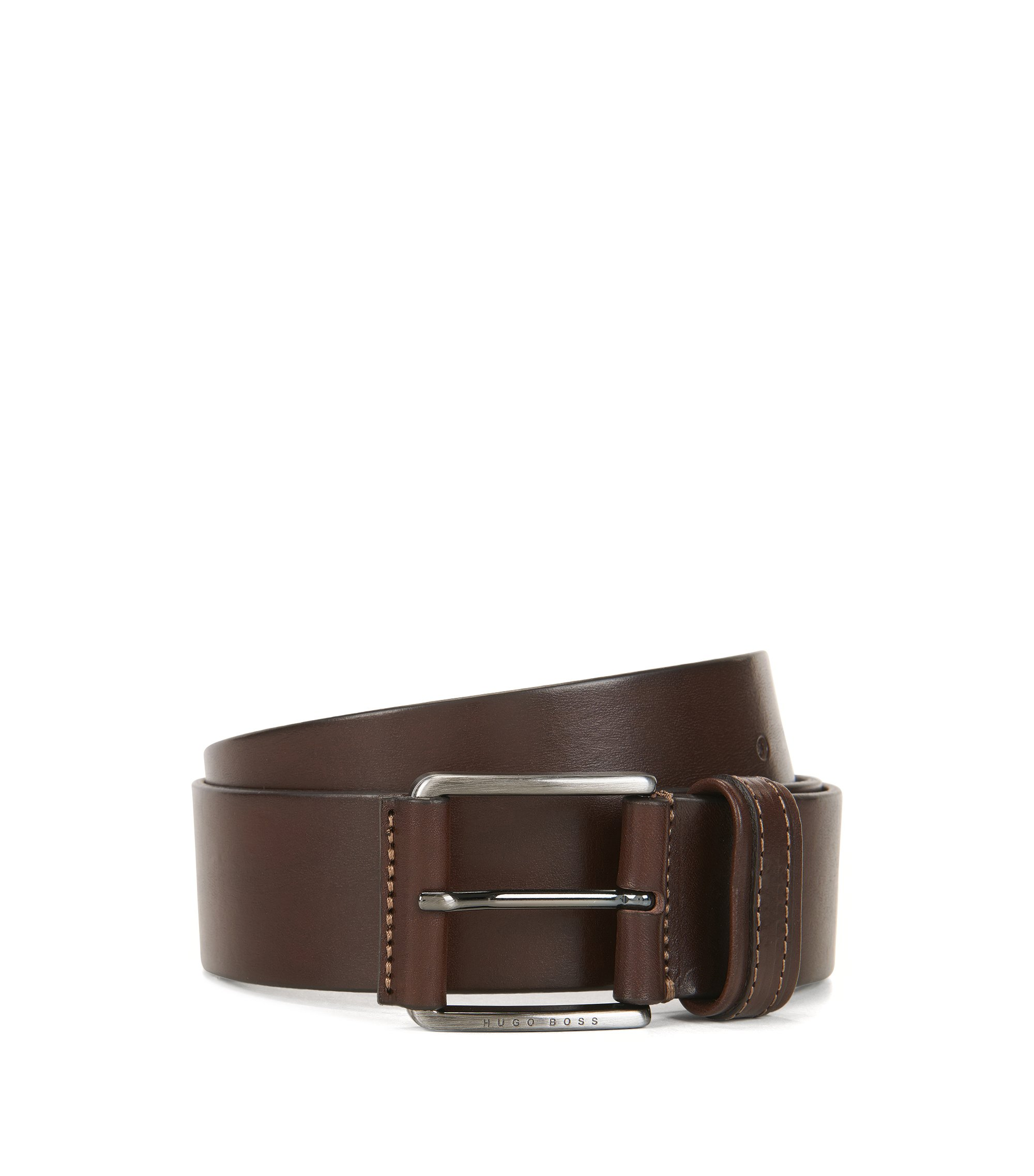 Leather belt with two-tone finish, Dark Brown