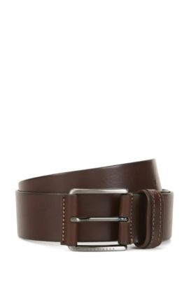 Cinturón de piel con acabado a dos tonos, Marrón oscuro