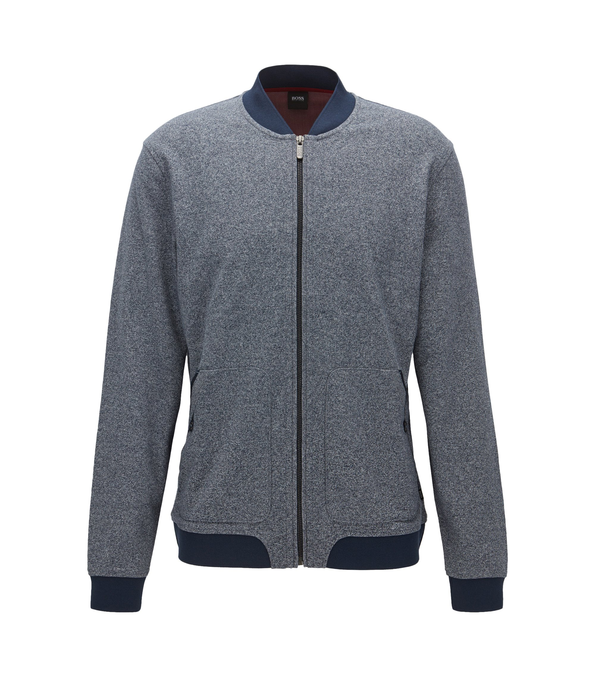 Melange cotton-blend jersey jacket in a regular fit, Dark Blue