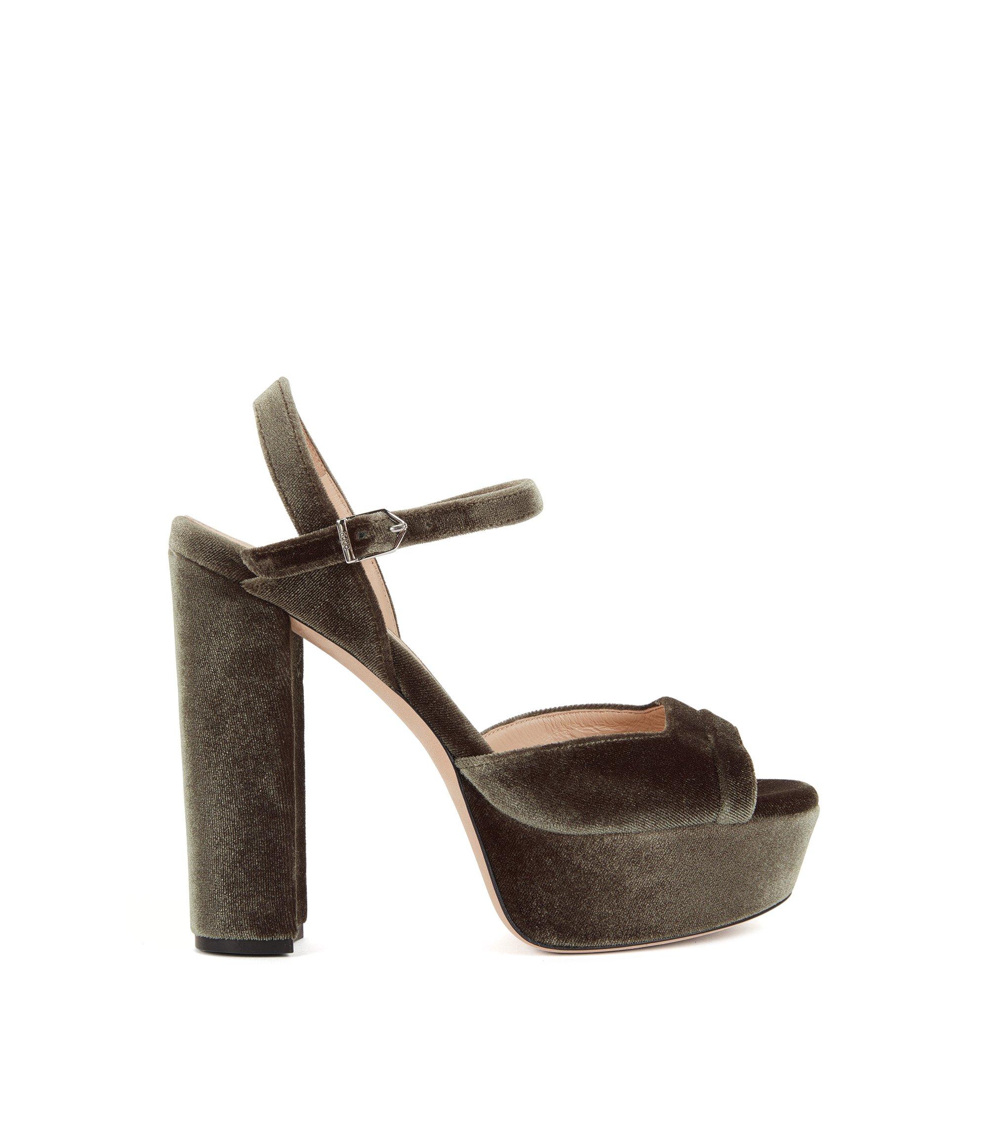 Plateau-Sandalen aus weichem Samt, Khaki
