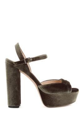 Platform sandals in soft velvet, Khaki