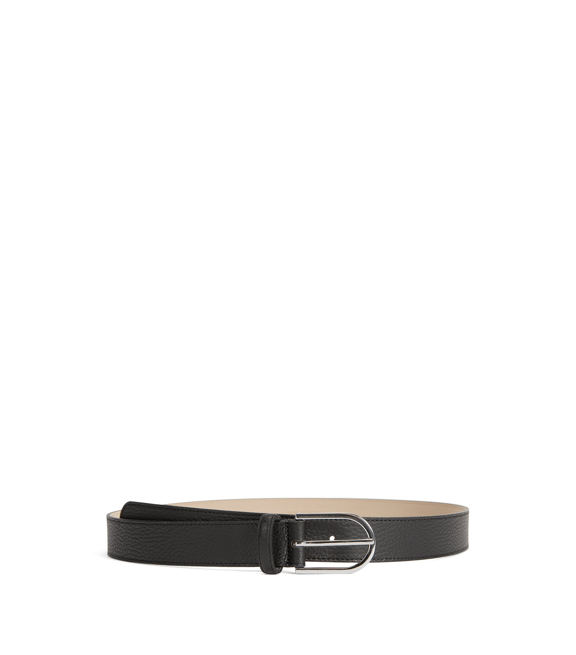 Grained-leather belt with a rounded buckle, Black