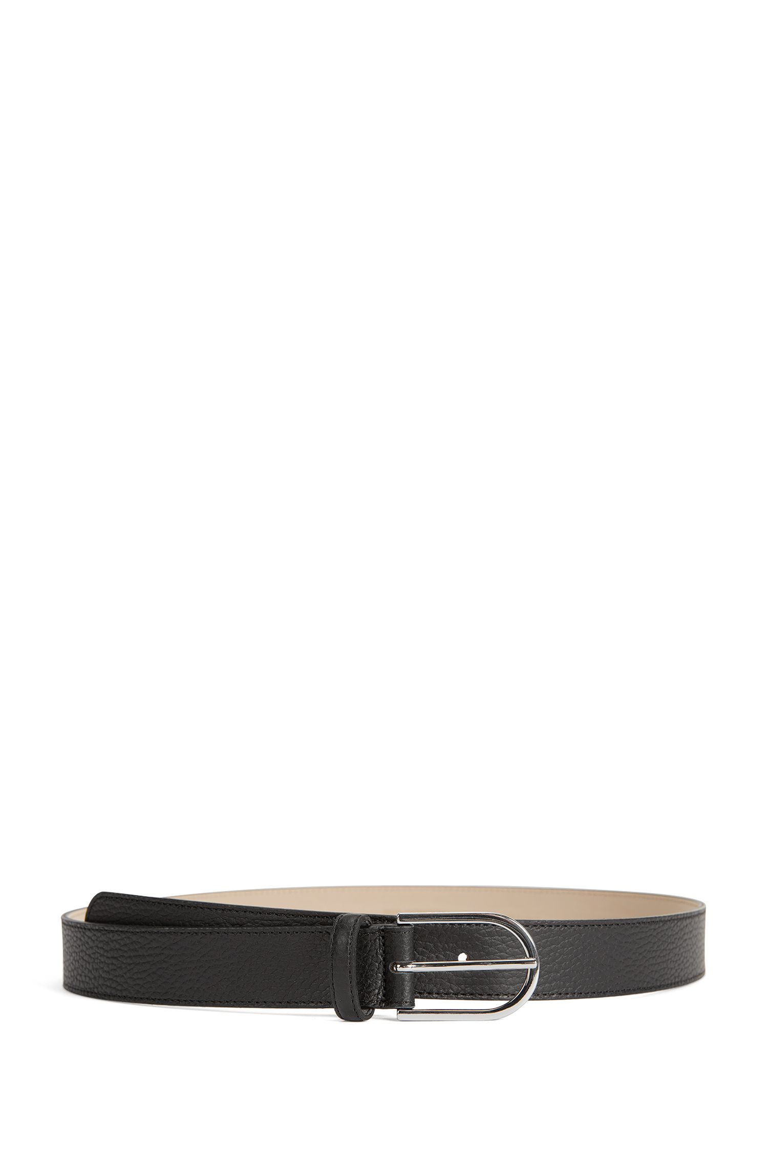 Grained-leather belt with a rounded buckle