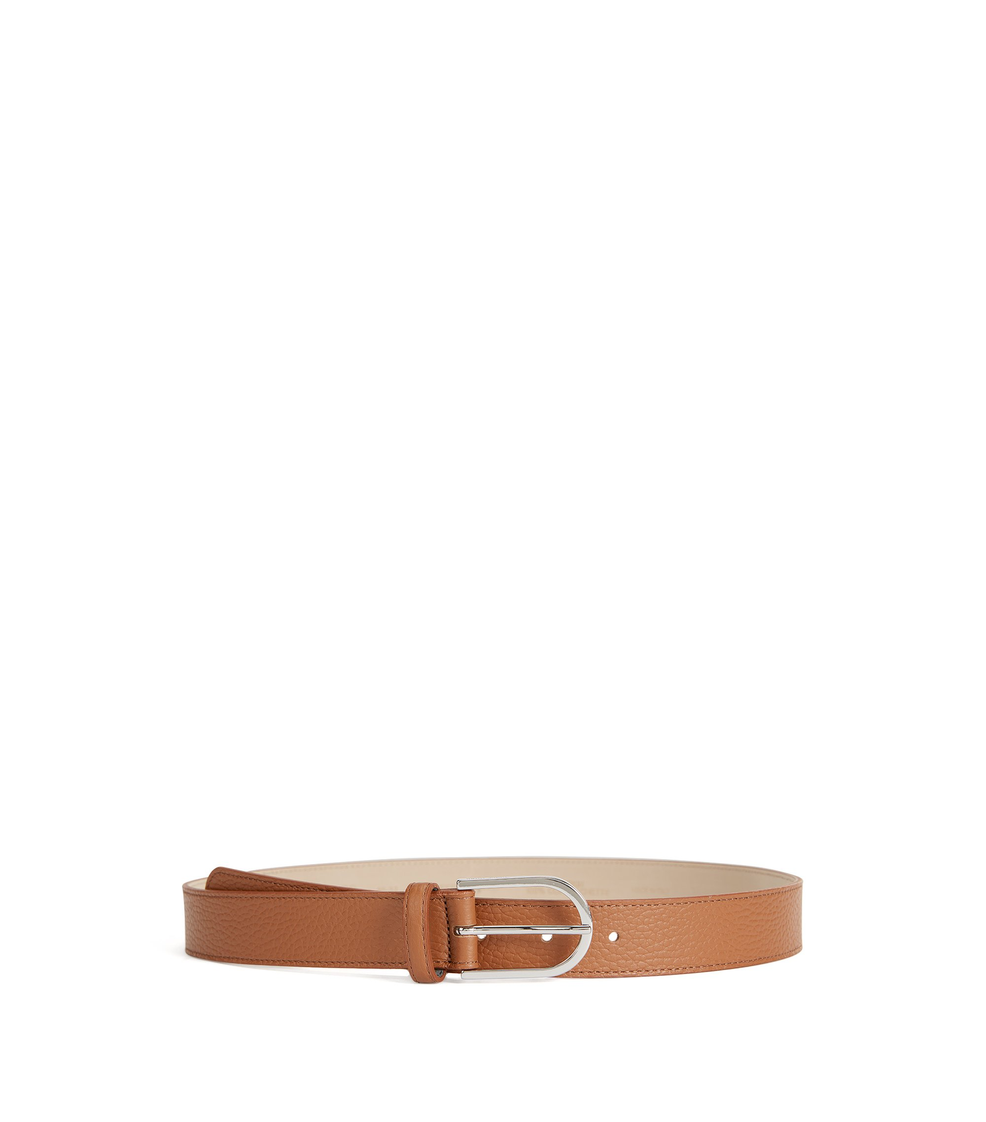 Grained-leather belt with a rounded buckle, Brown