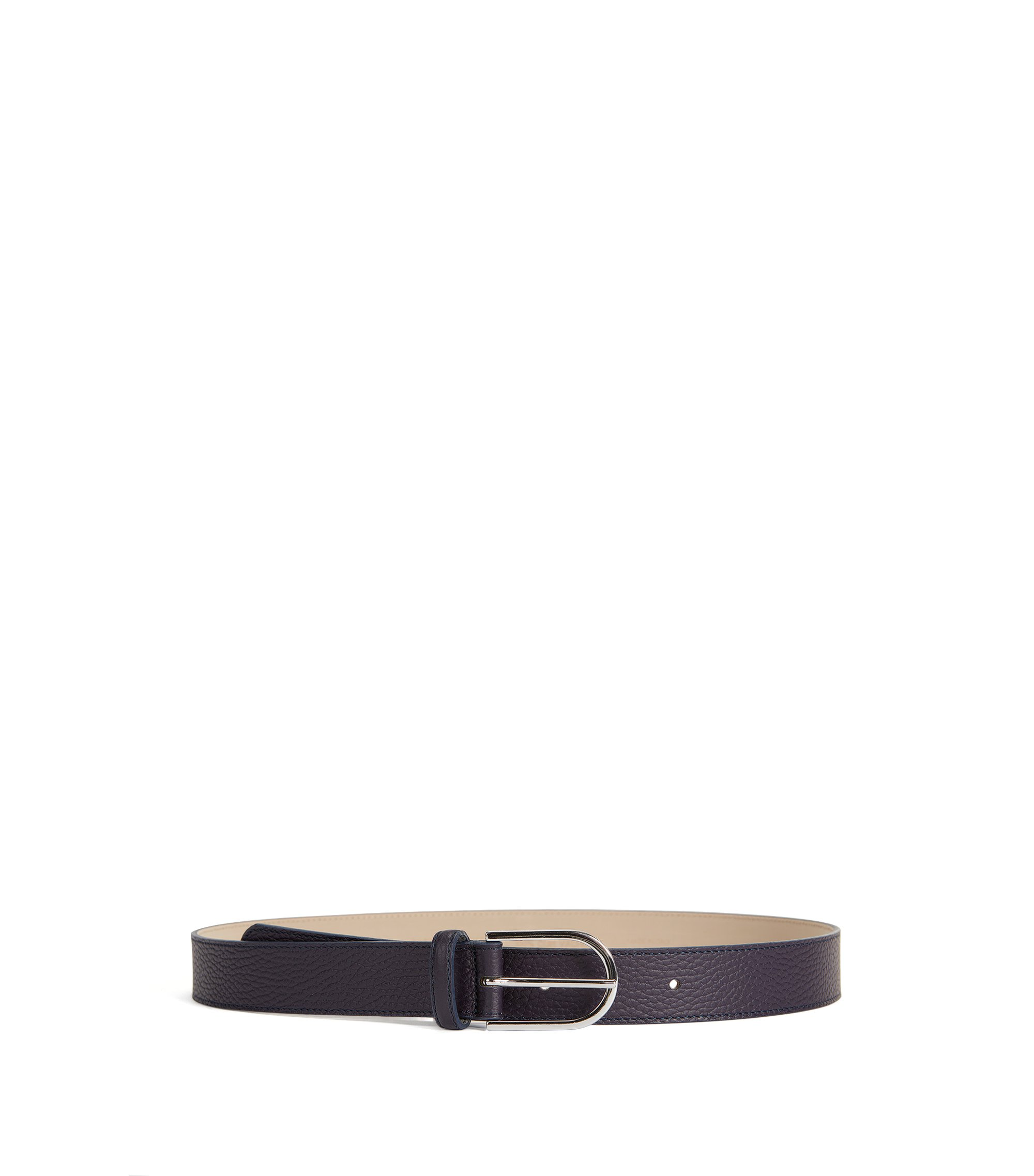 Grained-leather belt with a rounded buckle, Dark Purple