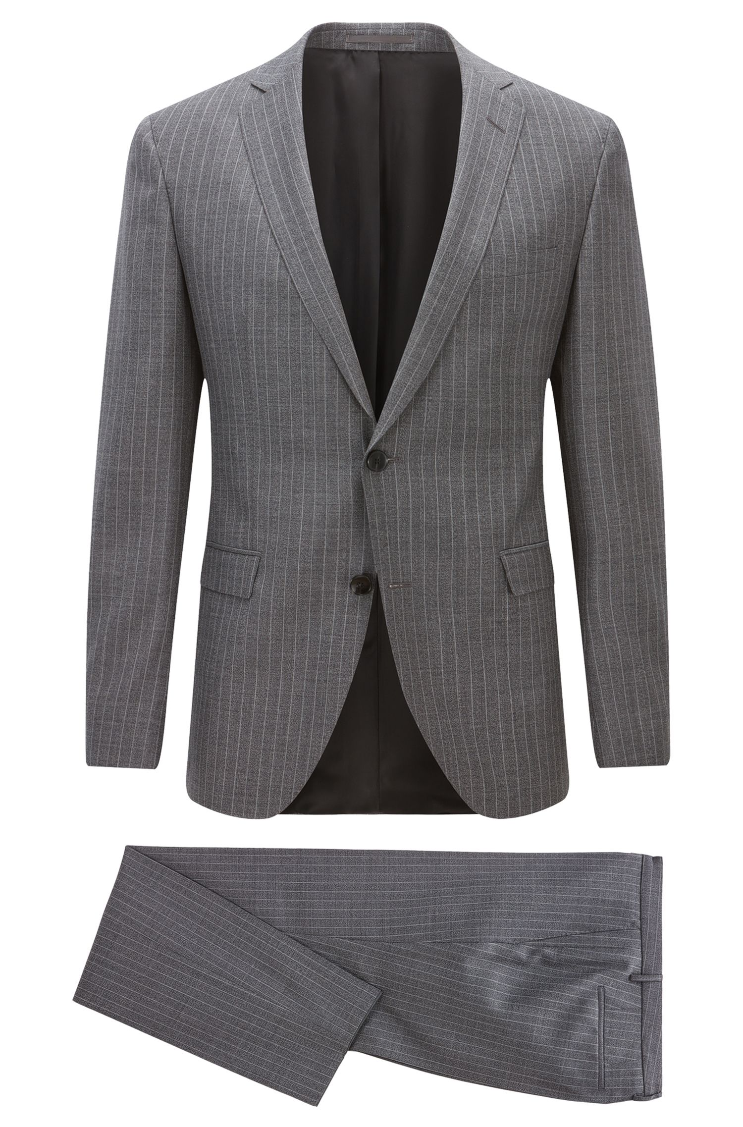 Extra-slim-fit striped virgin wool suit