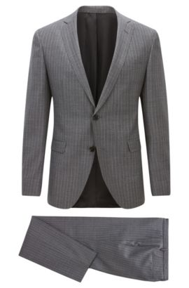 Extra-slim-fit striped virgin wool suit, Grey