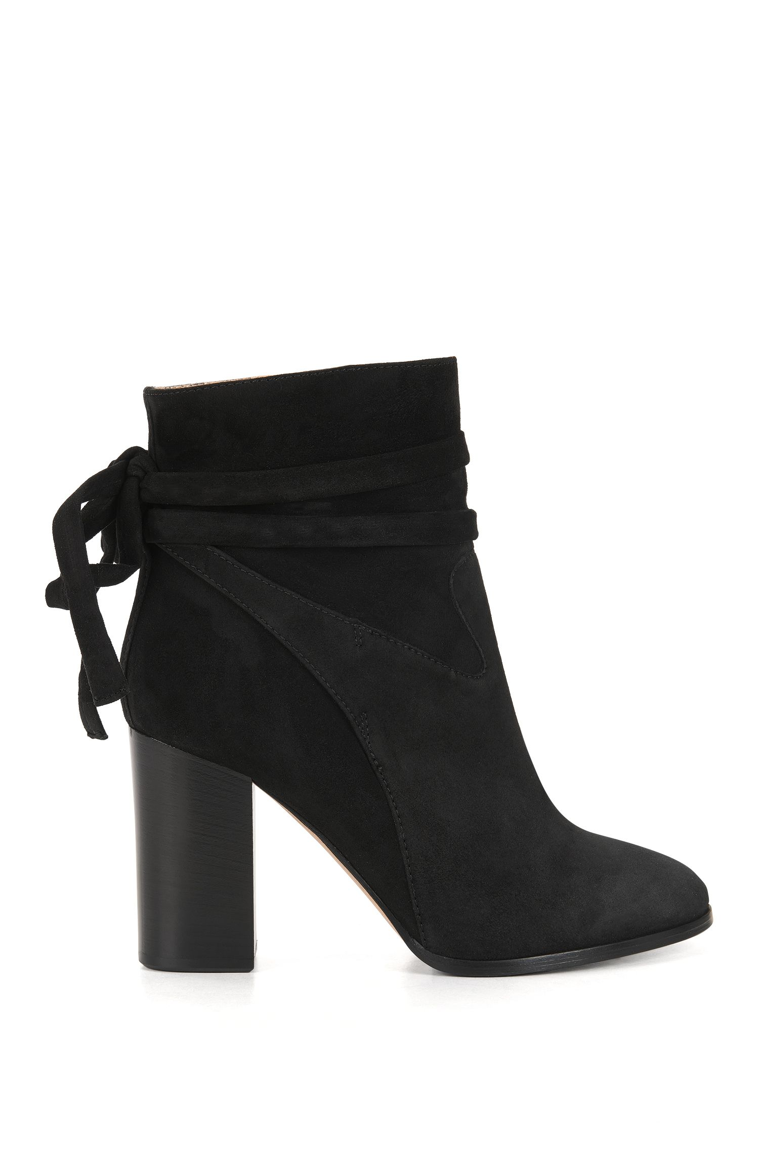 Suede ankle boots with wrap detail