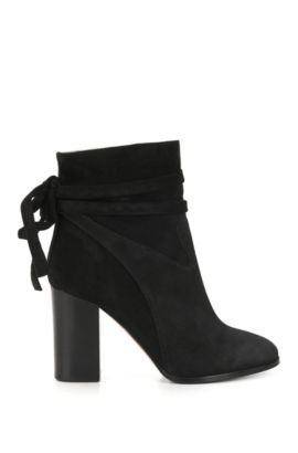 Suede ankle boots with wrap detail, Black
