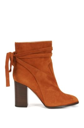 Suede ankle boots with wrap detail, Dark Orange