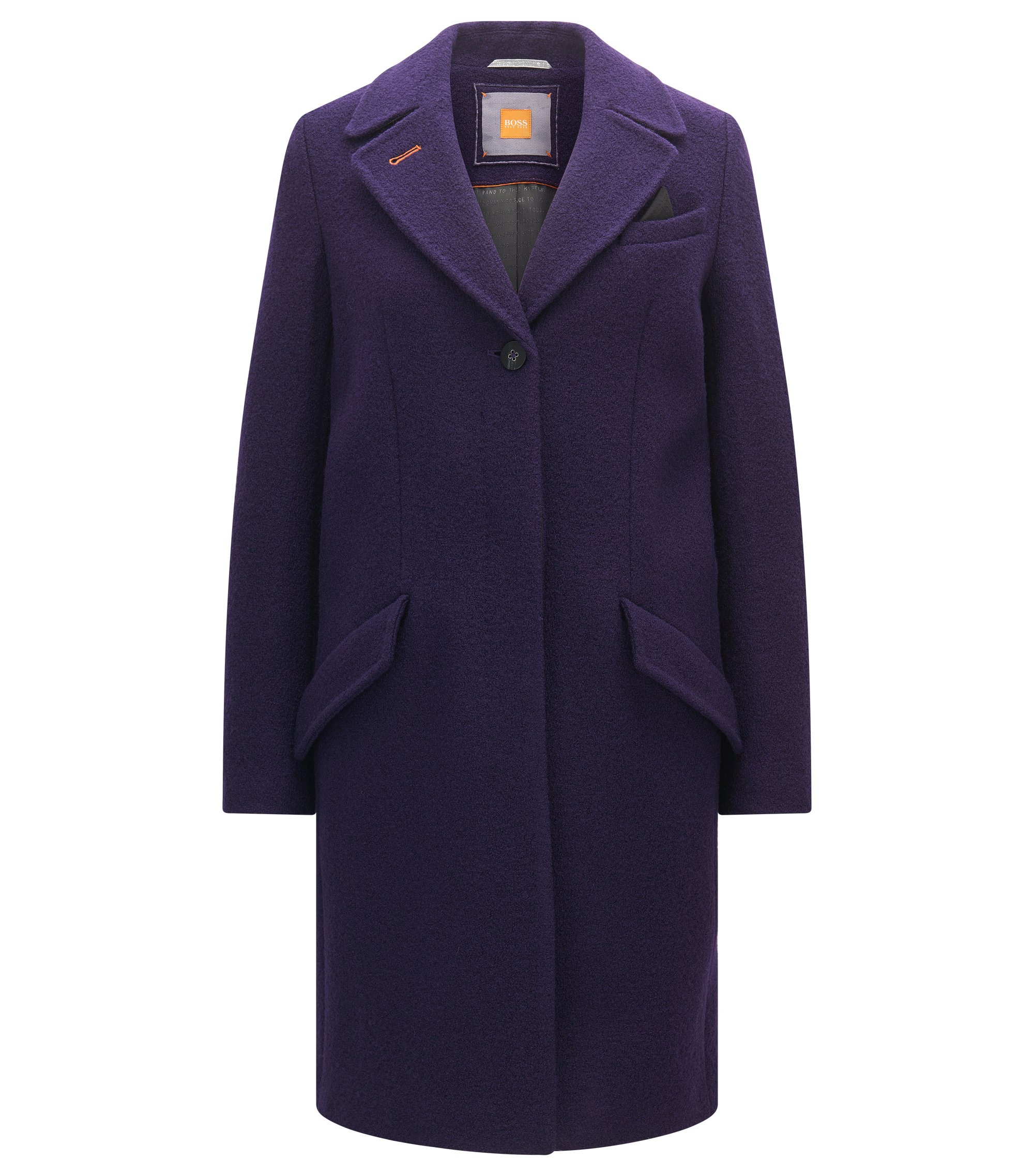 Regular-fit blazer-style coat in heavyweight virgin wool, Dark Purple