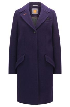 Cappotto stile blazer regular fit in lana vergine pesante, Viola scuro