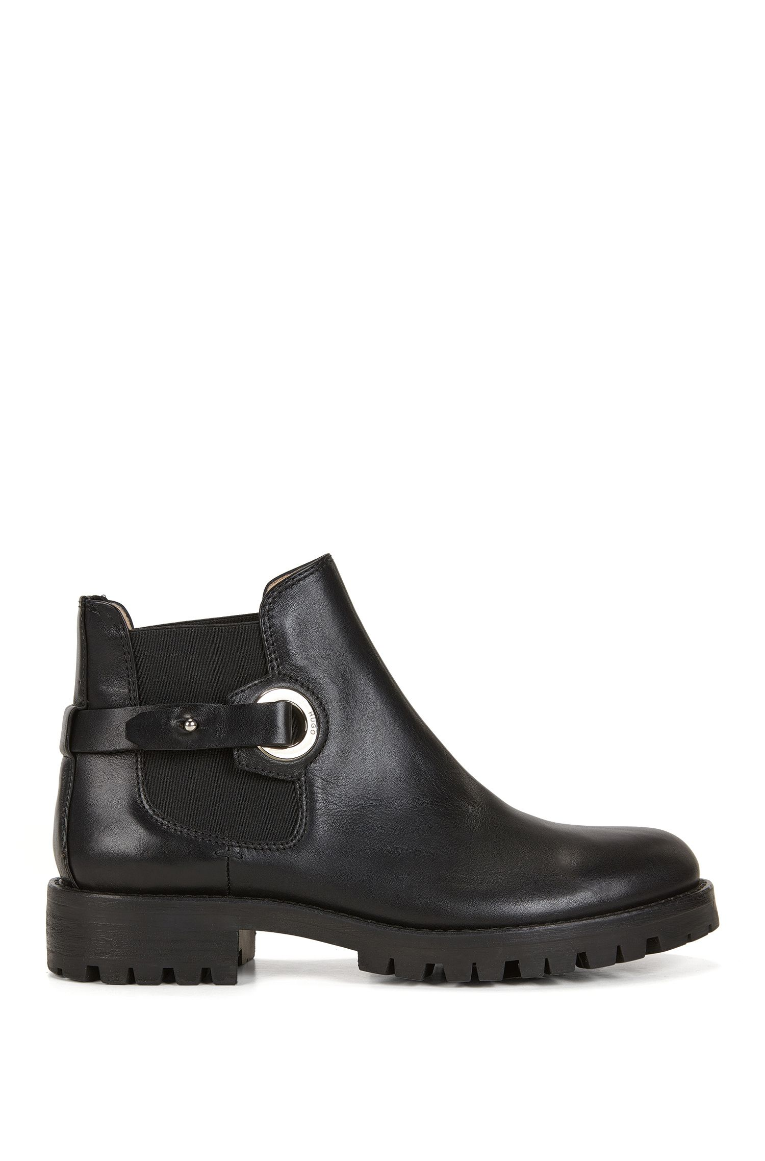 Strapped Italian leather Chelsea boots