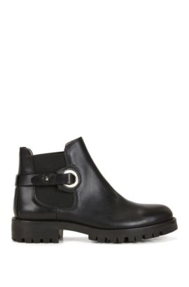 Strapped Italian leather Chelsea boots, Black