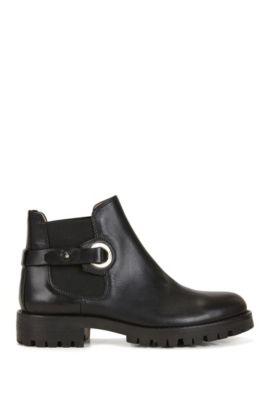 Chelsea Boots aus italienischem Leder mit Riemchen, Schwarz