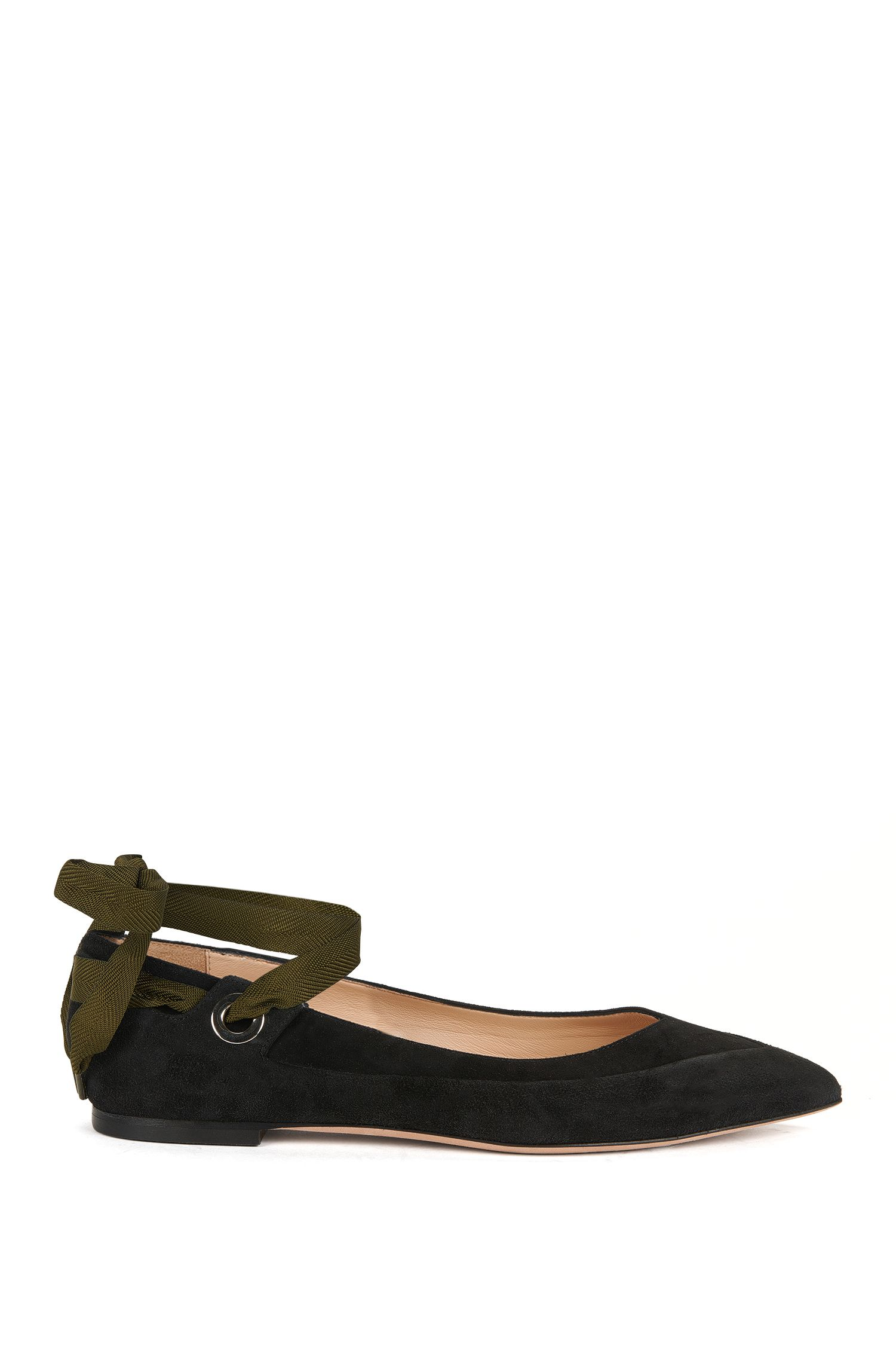 Suede ballerina pumps with grosgrain ribbon