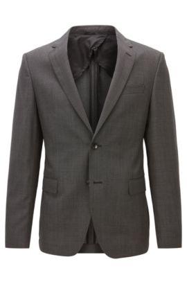 Giacca slim fit in twill di lana vergine, Grigio scuro