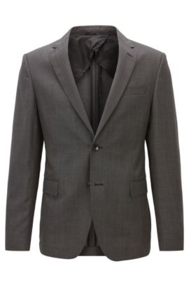 Slim-fit jacket in virgin wool twill, Dark Grey