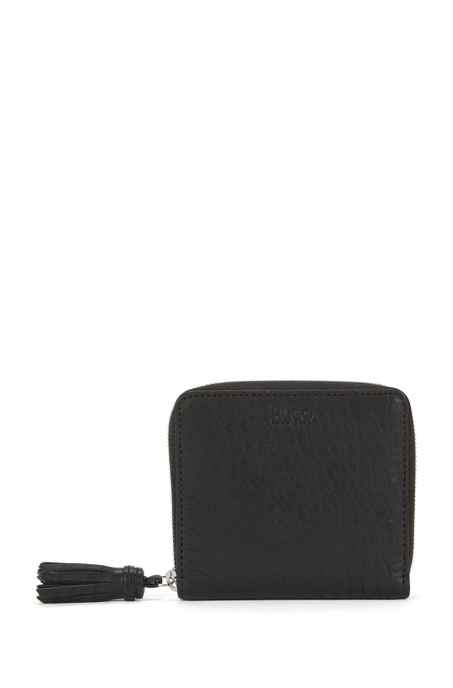 Zip-around leather wallet with tassel
