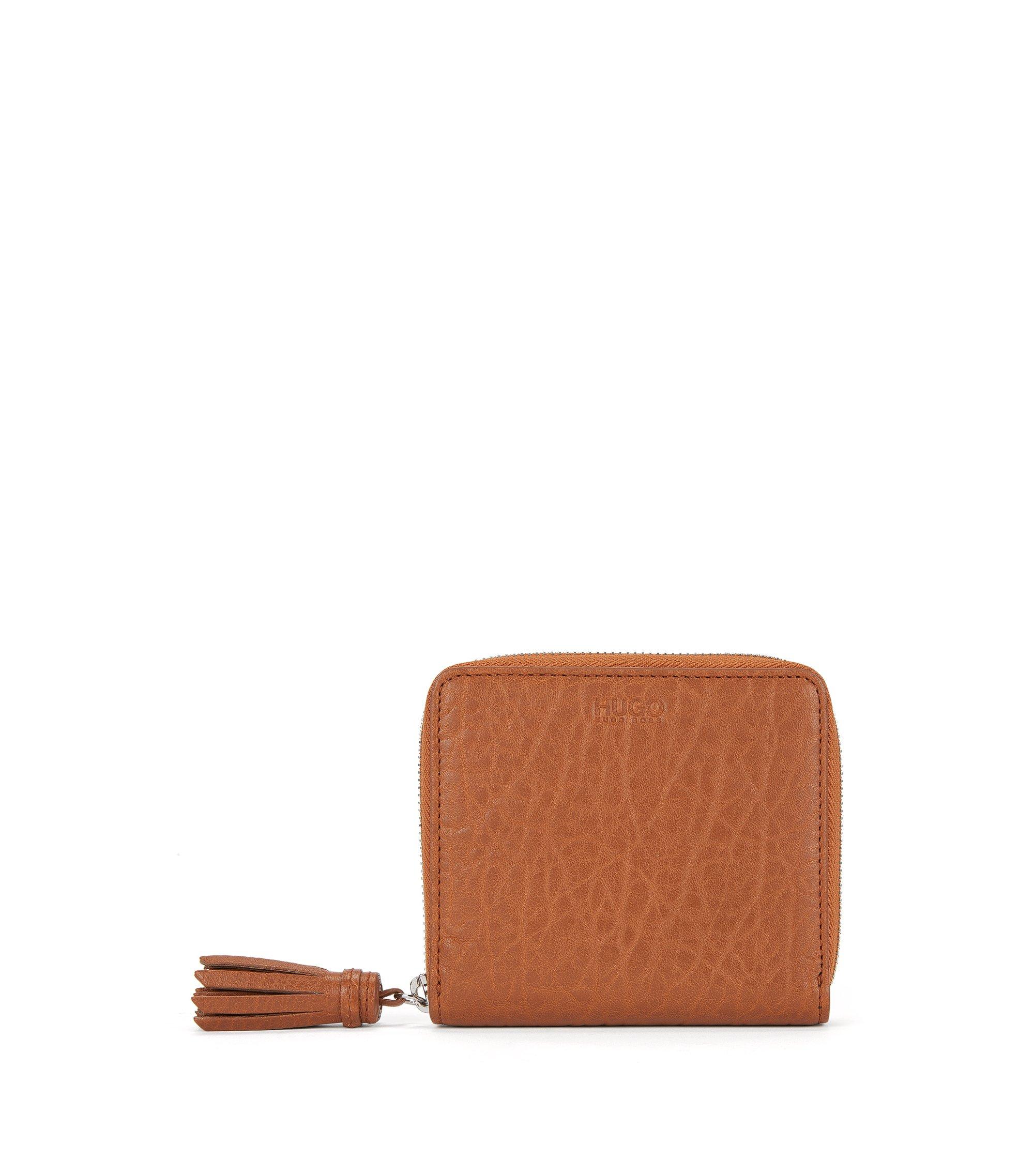 Geldbörse aus Leder mit Reißverschluss und Quaste, Dunkelorange