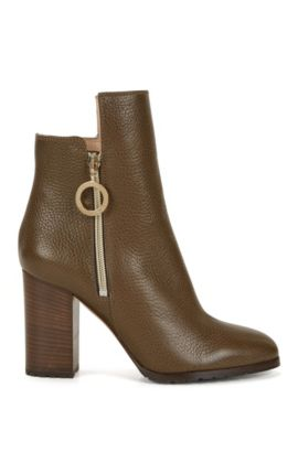 Ring-detailed ankle boots in Italian leather, Khaki