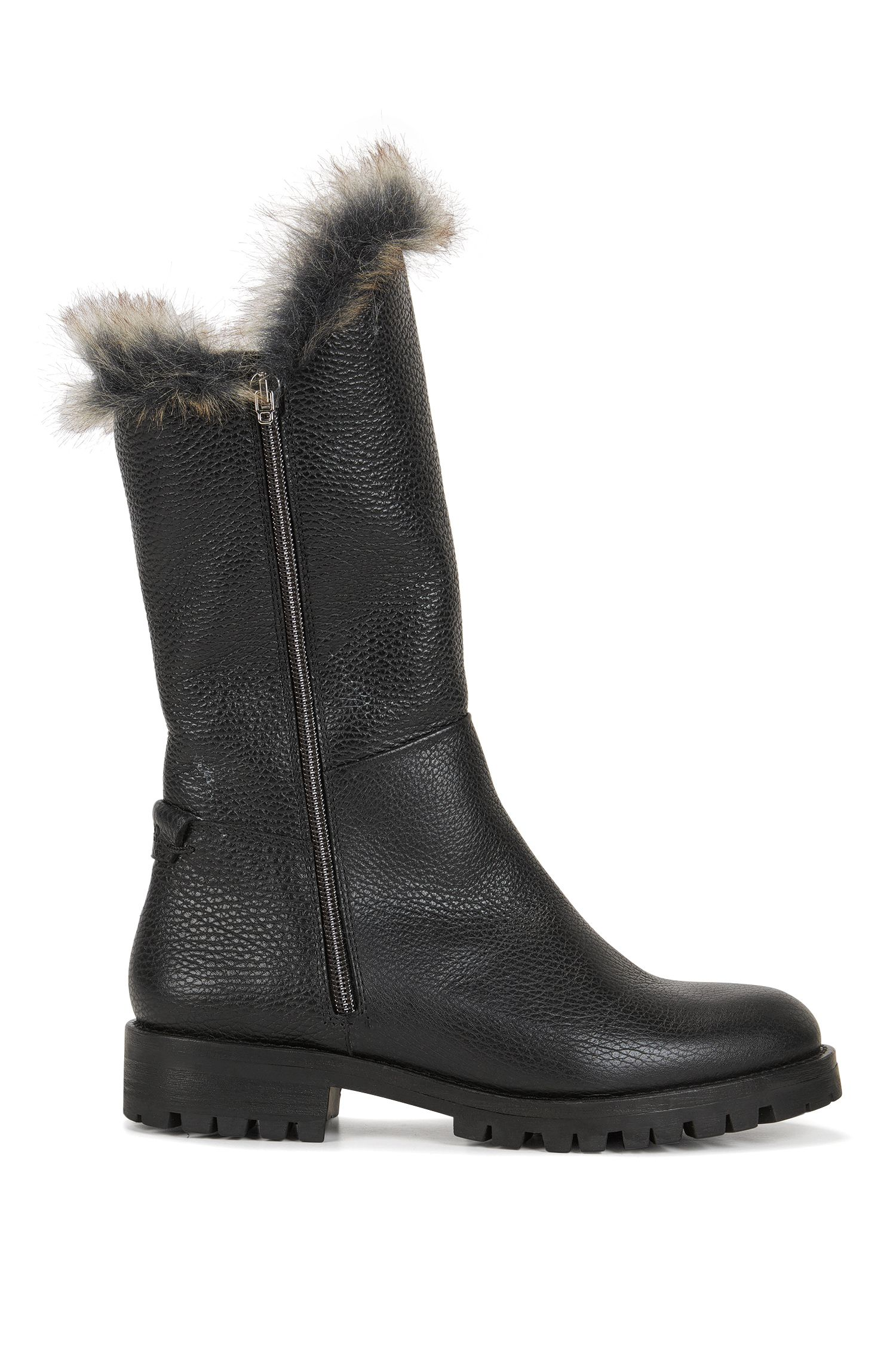 Zip-up grained leather boots with faux fur lining