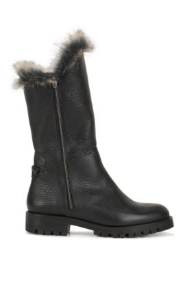 Zip-up grained leather boots with faux fur lining, Black