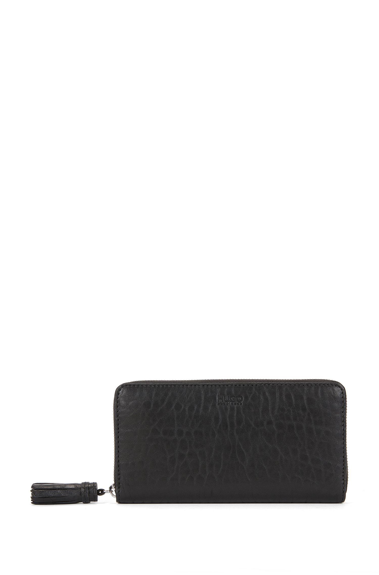 Zip-around wallet in rich leather with tassel