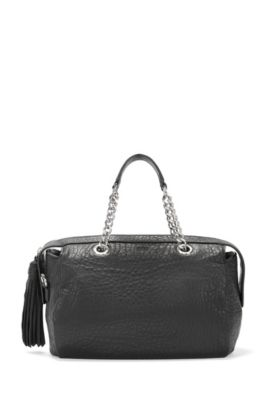 Tote bag in textured Italian leather, Black