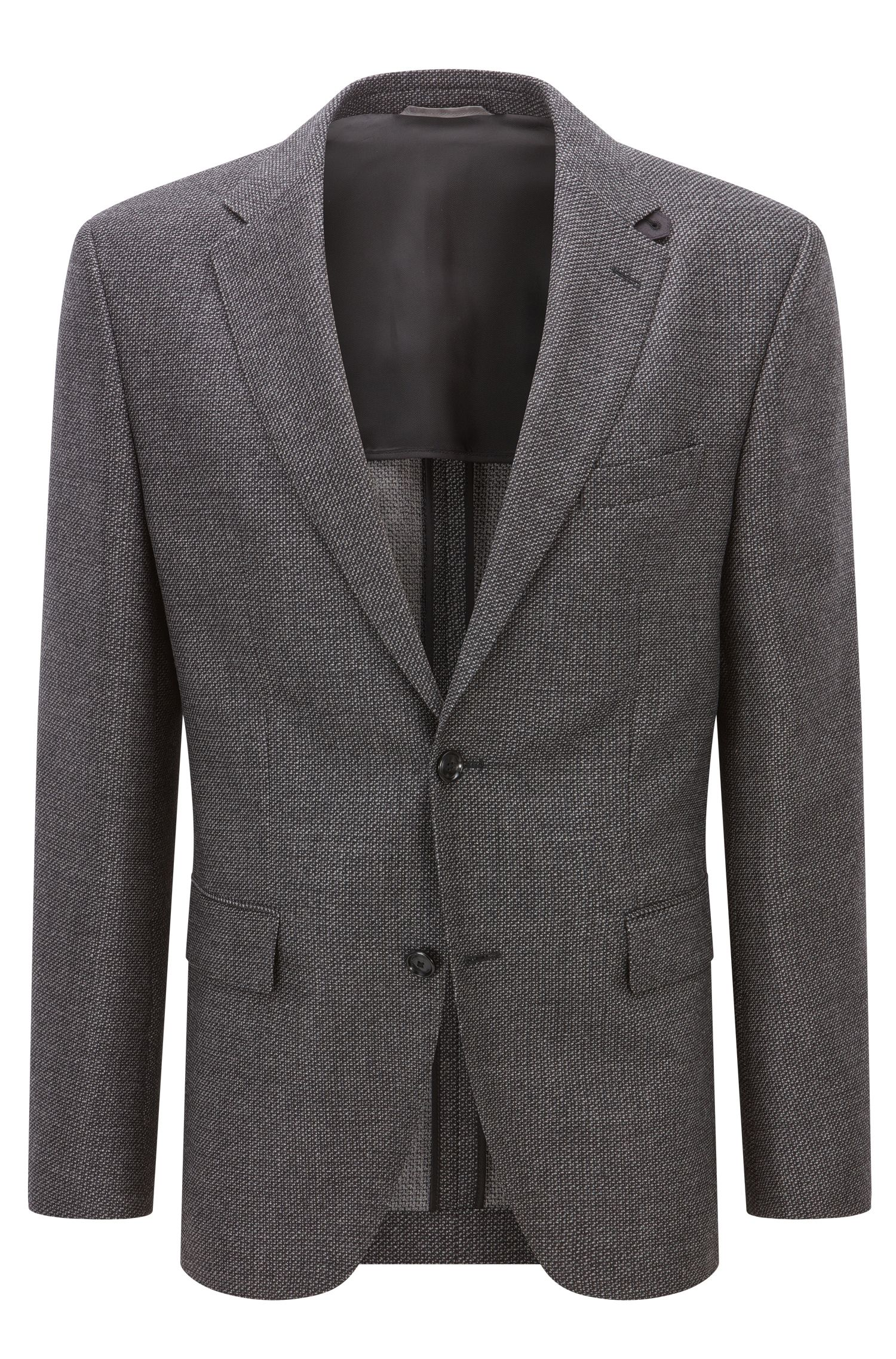 Regular-fit jacket in mélange virgin wool