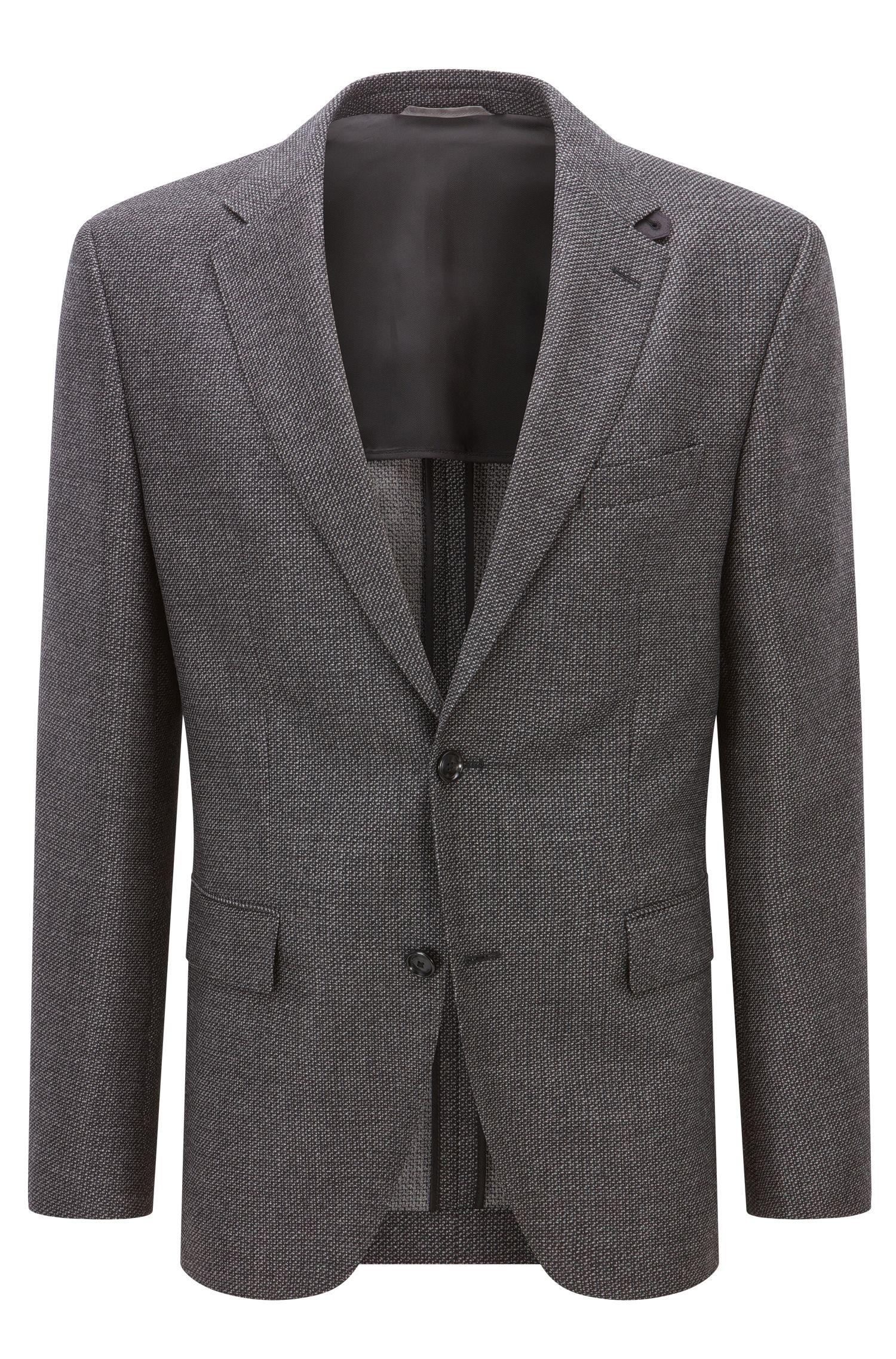 Regular-fit jacket in mélange virgin wool