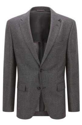 Regular-fit jacket in mélange virgin wool, Dark Grey