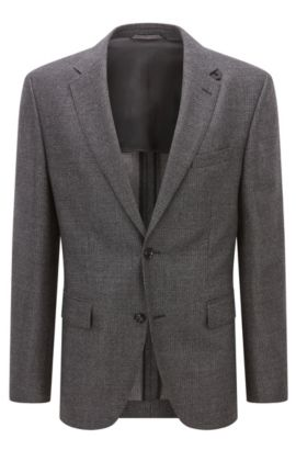 Regular-fit jacket in mélange virgin wool, Dark Grey