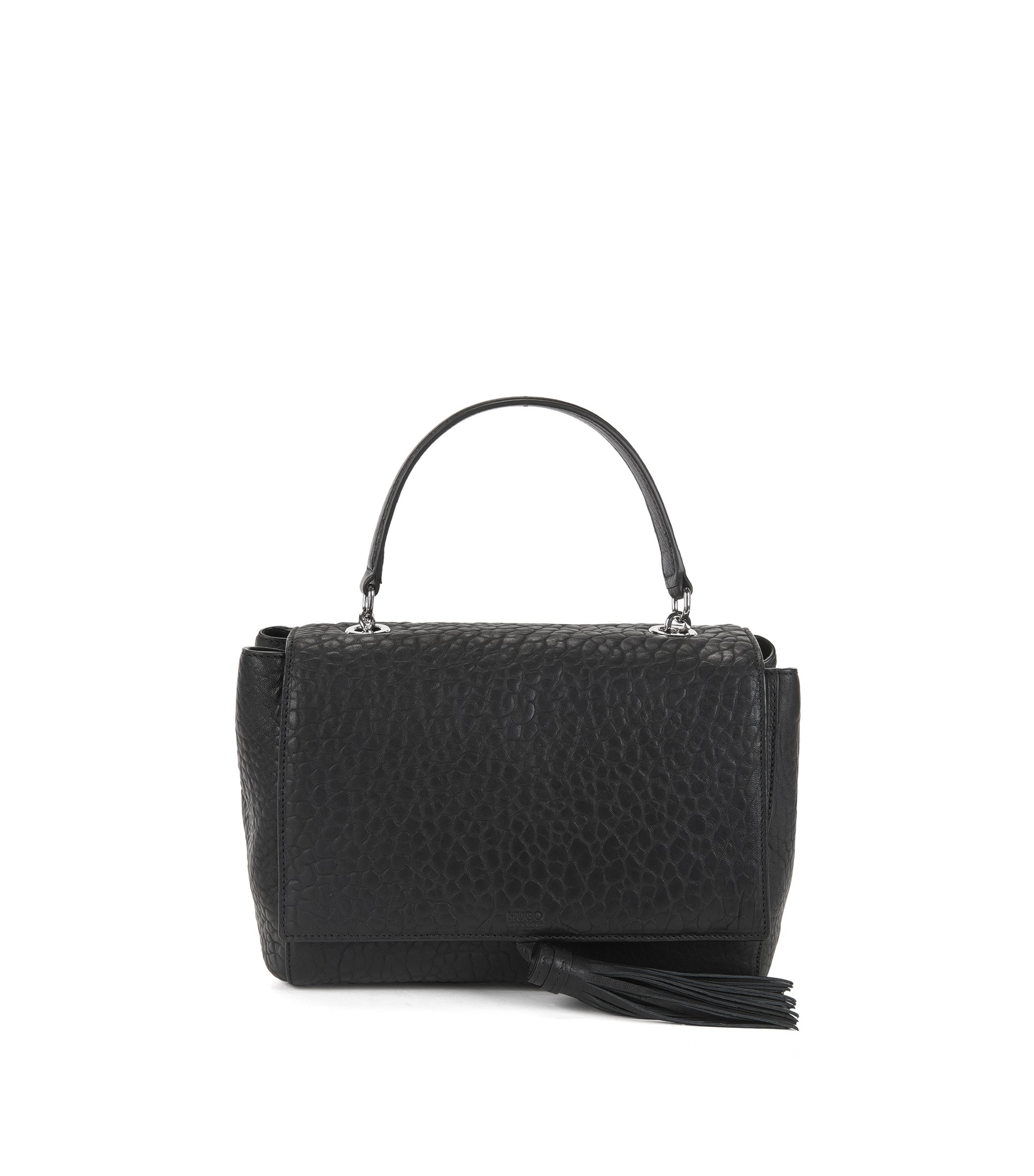 Top-handle handbag in Italian leather, Black