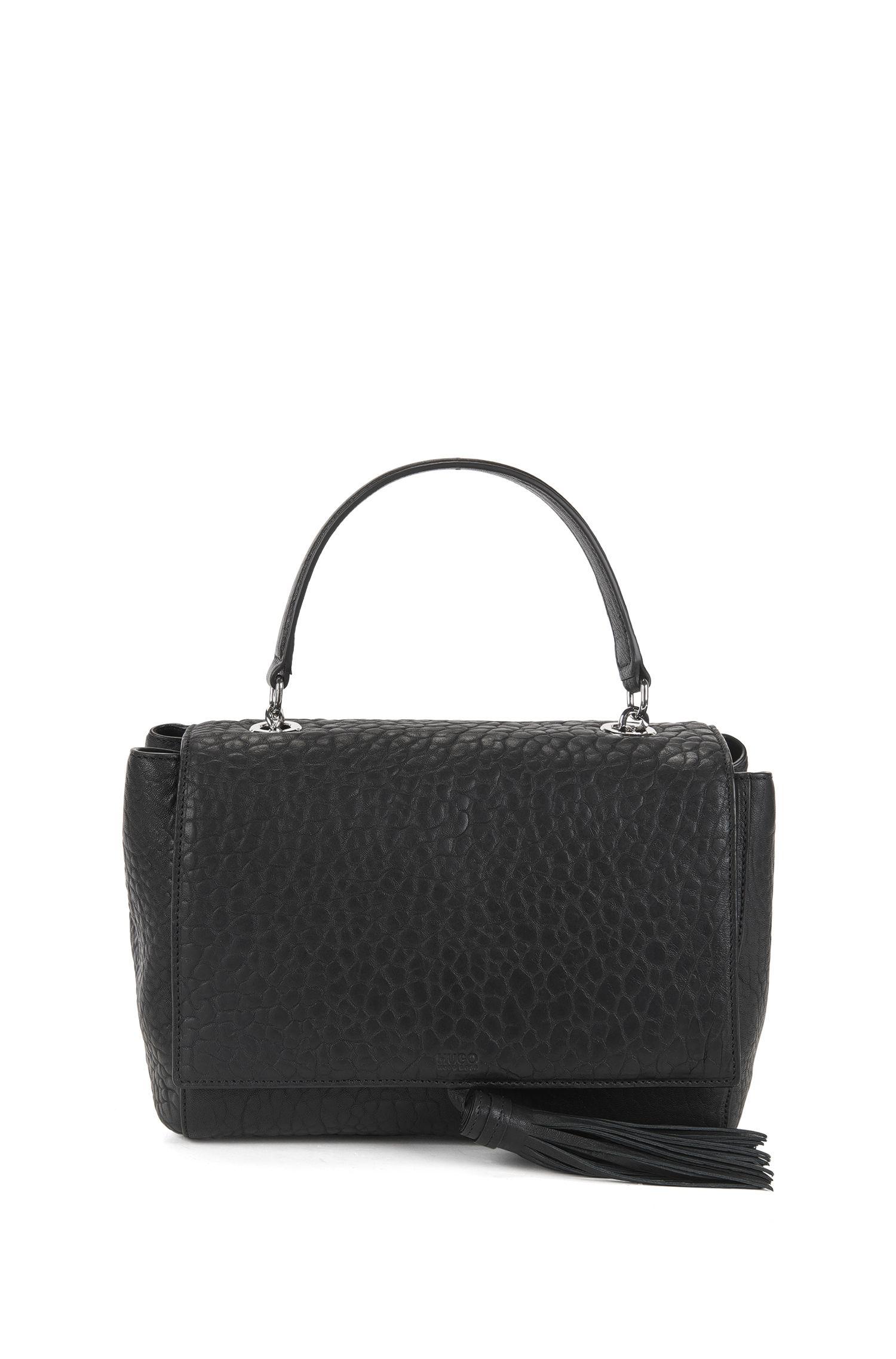 Top-handle handbag in Italian leather
