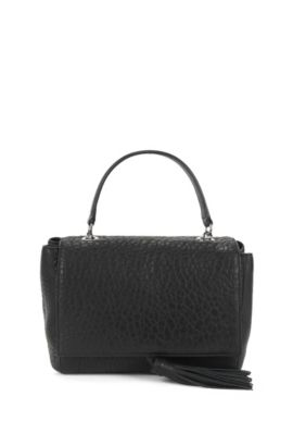 Top-handle handbag in Italian leather, Black
