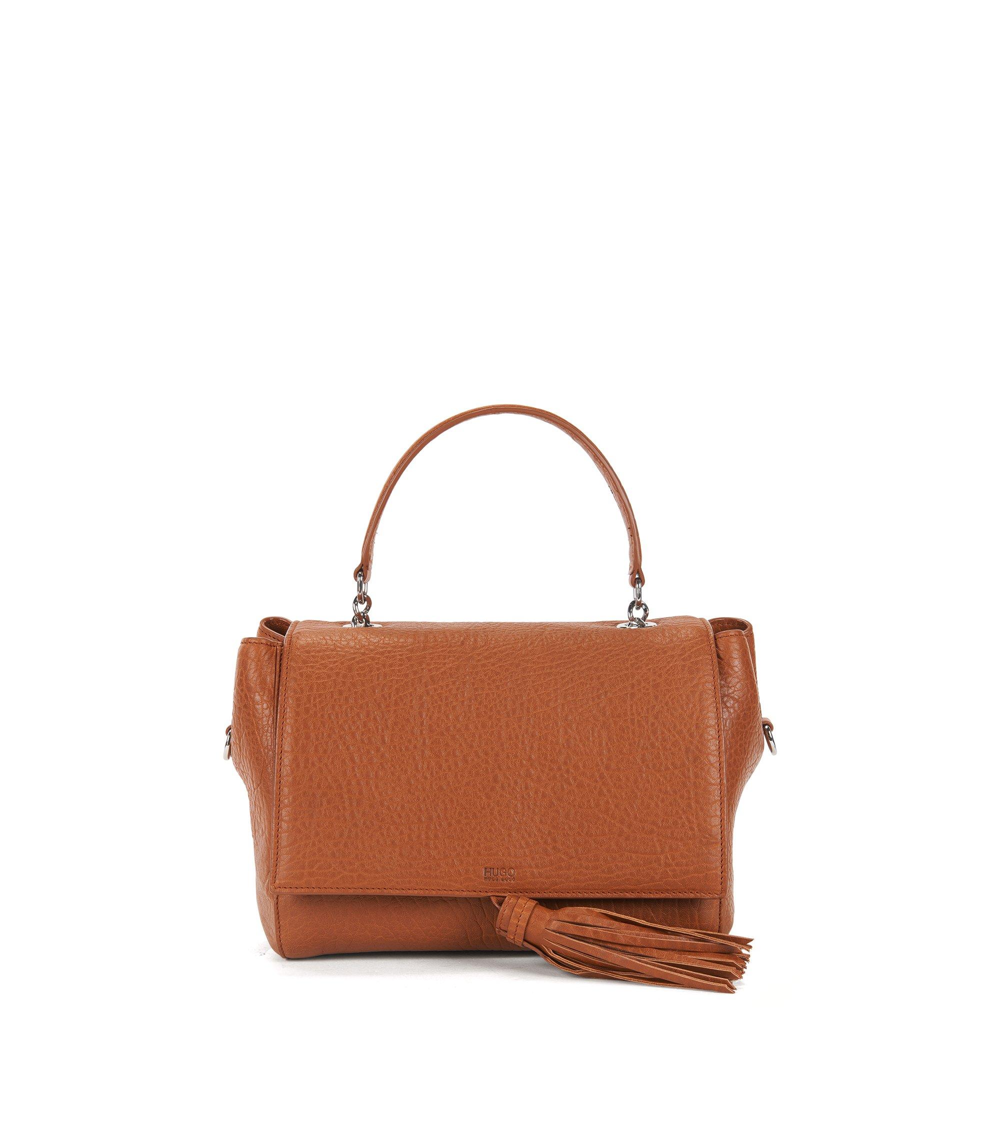 Handtasche aus italienischem Leder mit Tragegriff, Dunkelorange