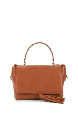 Top-handle handbag in Italian leather, Dark Orange